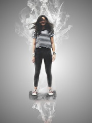 Smoky (Evert Kees) Tags: smoke girl hoverboard gimp