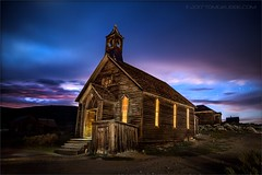 Ghost Night (TomGrubbe) Tags: bodie ghosttown abandoned miningtown easternsierras old church night stars nightsky clouds california