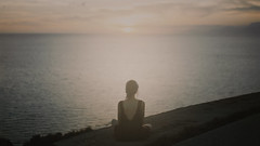Sun giant (I am winter) Tags: 35mm girl sun sunset beautiful sea film fujifilm sky light summer