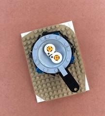 Fried (Tilde Brick) Tags: lego moc abs eggs yellow white grey black nougat pan cooking sketch