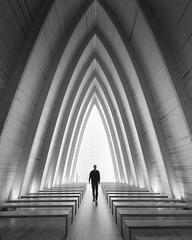 Portal (Vesa Pihanurmi) Tags: architecture interior chapel artchapel arc turku finland figure character metaphysical portal teleporter conceptual monochrome blackandwhite sanaksenaho taidekappeli