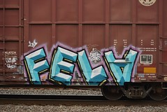 FELA (TheGraffitiHunters) Tags: graffiti graff spray paint street art colorful freight train tracks benching benched boxcar fela ribbet