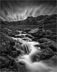 Massif Attack  (Explored) (markrd5) Tags: wales snowdonia llynidwal water stream flow rocks cloud movement mono monochrome nikon1024mm leefilter 10stop longexposure