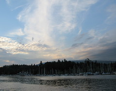 LOOKING AT STANLEY PARK FROM COAL HARBOR,  VANCOUVER,  BC. (vermillion$baby) Tags: stanleypark bc blue cityscape clouds coalharbour marina ocean panorama sailboats sea silhouette sky sunset vancouver vista