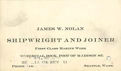 Business card, circa 1905 (Seattle Municipal Archives) Tags: seattlemunicipalarchives seattle businesscards ephemera shipwright joiner jamesnolan 1900s