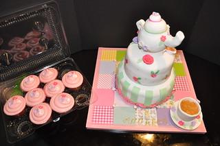 Tea Party Birthday Cake & Cupcakes 5