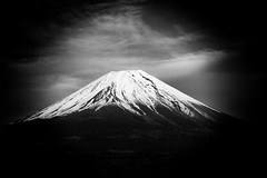 Fuji V (Douguerreotype) Tags: japan fuji mountain volcano bw blackandwhite mono monochrome landscape vignette snow clouds