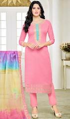 Pink Color Cotton Pant Style Suit