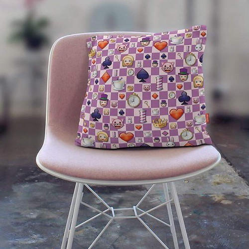 Alice in Wonderland pillow by the official emoji® brand⠀ ⠀ #emoji #emojilove #Alice #Wonderland #home #decor #designer #pillow #interior #interiordesign #design #pink #chess #checkerboard #cards #decor #itemoftheday #comfy #musthave #shopping