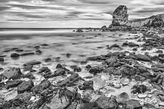 Marsden Grotto Black and white (robinta) Tags: mono seascape whitburn sea sand rock longexposure pentax sigma sigma18200mmhsmc water surf tide blur ocean coast seaside blackwhite england clouds sky contrast ngc pentaxart marsden cliffs seaweed