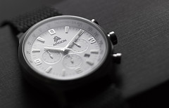 Areion White Chronograph on Gray (Joshua Geiger) Tags: watch product jewelry areion timepiece luxury chronograph horology wrist date numbers stainless monochromatic geigerfoto