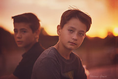 Fire and Ice (Adriana Gomez Photography) Tags: boy boys brothers youth young child childhood brownhair greeneyes grunge sunset jessicadrossin outdoors naturallight serious expression thoughtful