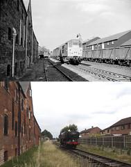 Dereham Past and Present - 6th September 1971 and 9th July 2017 (P Way Owen) Tags: 9466 d5633 dereham neatherd road maltings mid norfolk railway pannier tank steam engine locomotive past present