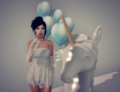 Unicorns & Balloons (Jayde Askari ~Pink Kitten~) Tags: rom rommie romannie sister love sisterly balloon balloons blue white gold unicorn unicorns lace romper addams bento tongue beautiful cute babygirl mesh maitreya logo