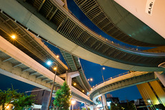Upward view of Kurokawa Interchange (黒川インターチェンジ) (christinayan01) Tags: elevated expressways interchange overpass bridge road nagoya night