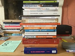 Three month's worth of reading (Dradny) Tags: royfisher cookery demiveg swansea rhystrimble marx workroom writing france research philipterry tompicard lesmurray baudelaire dianediprima jacksonmaclow cliffyates tomraworth peterfinch chrismccabe travel poets poetry bukowski