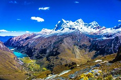 An amazing perspective of Huascarán mountain from the Portachuelo pass and the Llanganuco Lakes.