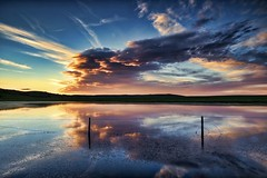 Fence in the Pond (John Andersen (JPAndersen images)) Tags: alberta calgary clouds highway jumpingpound luminar panorama ptgui sunset yyc