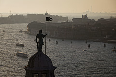 San Giorgio (- cornuspixels -) Tags: venice san giorgio maggiore bronze statue sunset grand canal boat traffic canon eos 6d vertical cityscape cornuspixels