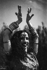Sun Goddess (FMCRphotography) Tags: woman goddess belly bw blackandwhite bellydancer smile portugal porto portrait pose love hands happy expression film analoguecamera analogue fpp fppblog