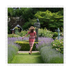 I'm late, I'm late (hehaden) Tags: woman hurry hurrying run running grass path flowers roses catmint borders fountain sculpture garden jayrobinssrosegarden bordehill sussex square aliceinwonderland