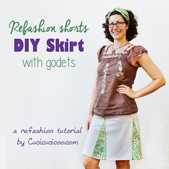 Refashion shorts into a DIY skirt with godets (cucicucicoo) Tags: refashion refashioning refashioned sew sewing sewingtutorial skirt sewskirt diyskirt skirtrefashion shortsrefashion pantsrefashion godet