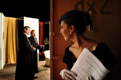 Before Walking on Stage III (Marta Marcato) Tags: man light stage backstage backlight silhouette eye look actor play comedy show costume portrait portraiture attore commedia spettacolo uomo sguardo ritratto luce palco palcoscenico teatro theatre persone woman actress girl beautiful donna attrice ragazza bellezza