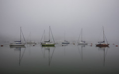 Triangles (Robgreen13) Tags: uk devon cornwall rivertamar mist fog tranquil yachts boats reflection seascape shoreline waterfront