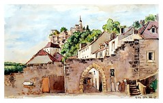 Rocamadour - Lot - Occitanie - France (guymoll) Tags: rocamadour occitanie france lot village cheminsdesaintjacques camino de san tiago croquis sketch plume pen crayon pencil watercolour aquarelle watercolor