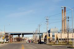 Canal St. & Emmber Ln., Milwaukee Wisconsin (Cragin Spring) Tags: midwest milwaukee milwaukeewi milwaukeewisconsin wisconsin wi urban usa unitedstatesofamerica unitedstates city smokestack street intersection bridge