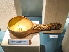 A domestic ceramic spoon at the museum in Chacas.