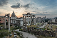 The famous view of The Roman Forum as seen as at Sunrise. Rome. Italy. Sunrise. Christine Phillips (C) (Christine's Phillips (Christine's observations) - ) Tags: yellow rome italy sunrise forum juliusceasar europe capital christinephillips happiness amazing likenothingelse christine phillips
