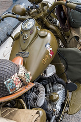 War time motorbike. (Bob Green 52) Tags: svr severnvalleyrailway svrwarweekend2017 severnvalley railway train steam smoke war engine loco rails worcestershire 40sweekend reenactment