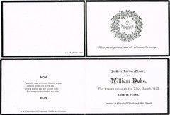 In Memoriam Card William Duke, aged 63, died 22nd March 1923, buried 26th March 1923, Chingford Churchyard, Essex (North West Kent Family History Society) Tags: inmemoriamcard williamduke aged 63 born 1860 binfield berkshire died 22ndmarch1923 buried 26thmarch1923 chingfordchurchyard essex eccollection married elizabethalicemorrell 6thseptember1884 stjude chelsea london 18911911 groom gardener