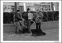 Trio de la tubestation (frode skjold) Tags: trio streetmusicians buskers busking saxophone trekkspille accordion bass doublebass kontrabass outside urban oslo norway norge nationalteatrettbanestasjon street streetphotography fujifilmx20 blackwhite blackandwhite bw monochrome oslobilder visitoslo