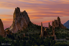 Garden of the Gods Spring Sunrise_MG_0881_0882 (Alfred J. Lockwood Photography) Tags: alfredjlockwood nature landscape dawn twilight sunrise gardenofthegods spring southgatewayrock cathedralspires morning colorado clouds sky exposureblend sleepinggiant