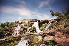 Lake Macbride waterfall (L. Paul) Tags: toycamera toycam toy plasticcamera vuws vuw vivitarultrawideandslim wideangle 22mm agfavista400 400iso agfa
