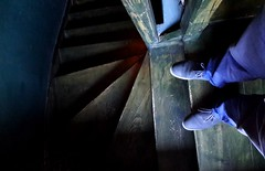 Staring the stairs (borisvasilev) Tags: shoes blue madeinblue sofia stairs green bulgaria architecture travel interior