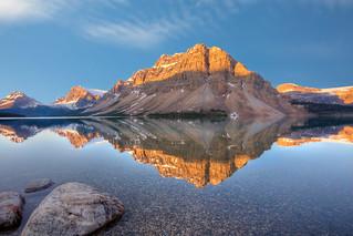 Sunrise on Crowfoot Mountain, Bow Lake, Banff National Park, Alberta