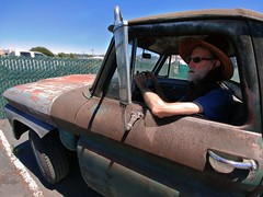Pierre: 1964 GMC (RZ68) Tags: 1964 gmc chevrolet chevy truck classic vintage old rusty patina fixer upper project car pierre man driving santa rosa california strw hat original condition vehicle lg g6 camera phone smartphone street