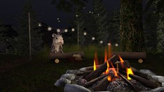 Kumbaya (alexandriabrangwin) Tags: alexandriabrangwin secondlife 3d cgi computer graphics virtual world photography camp fire singalong kumbaya old folk song sung campfire hamster gerbil sitting log looking gaunless stupid look face silly funny cute furry animal forest stringlights dark evening home grass trees nature giant
