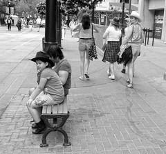 Calgary Stampede Time (Sherlock77 (James)) Tags: calgary downtown stephenavenue streetphotography people woman child calgarystampede cowboyhat