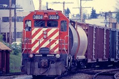 CP 3004 - GP-38 leads westbound manifest freight at Mission BC (kenyoung3) Tags: canadianpacific railroads freighttrain gp38 cprail missionbc canada