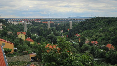 Pohled na železniční most přes řeku Dyji z ulice U Brány