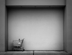 Cart in a Frame (Darren LoPrinzi) Tags: 5d canon5d philadelphia philly urban canon city miii urbanexploration blackandwhite bw blackwhite mono minimal minimalism cart shoppingcart frame street streetphotography nj newjersey shopping mall store sears