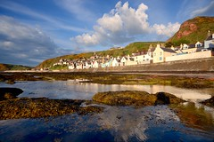Seatown, Gamrie, Aberdeenshire (iancowe) Tags: seatown gamrie gardenstown sunset cloud clouds seafront aberdeenshire rock rockpool village fishing reflection reflections scotland scottish gable end gables harbour