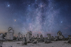 The Stone Desert (ИвайлоВеликов) Tags: sky landscape stones rocks stars mystery explosion desert illustration exploration astronomy bulgaria planet galaxy varna ngc