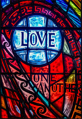 Love one another (Kevin Lloyd) Tags: napier newzealand northisland panasonic panasoniclumixdmclx7 waiapucathedral church colourful message red religious stainedglass window hawkesbay