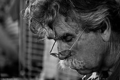 Munroe the clock maker (Neil. Moralee) Tags: neilmoralee usa2017neilmoralee man face candid close clockmaker glasses intent concentraition moustache old mature craggy male nose clocks work working menatwork repair build black white mono monochrome watch time timepiece minute second hour people craft craftsman