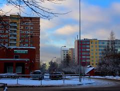 Purvciems, Rīga (ARTTVOREC) Tags: riga purvciems police policija rule thirds composition winter city colors bright sky